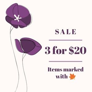 🍁3/$20 Add 3 items with🍁 to a bundle
